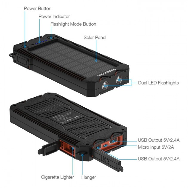 Poweradd powerbank med solceller