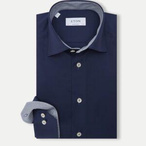 Eton Contemporary Fit - Poplin skjorte i navy blå