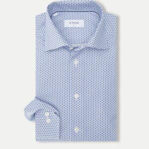 Eton Poplin skjorte i blå