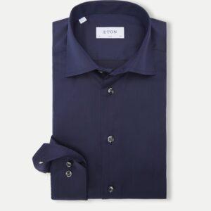 Eton Slim fit - Signature Twill Dress Skjorte i Navy Blå